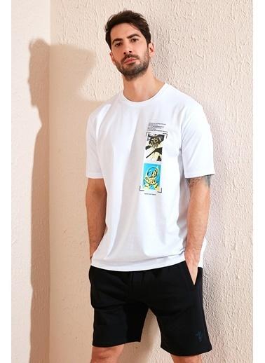 Buratti Buratti Oversize Baskılı Bisiklet Yaka % 100 Pamuk T Shirt Erkek T Shirt 5721018 Beyaz